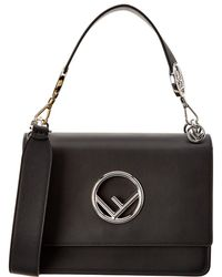 Fendi Kan I F Medium Leather Shoulder Bag - Black