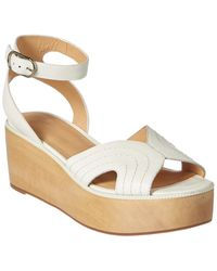 Joie Gabourey Leather Wedge Sandal - White