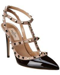 Valentino Rockstud Caged 65 Patent Ankle Strap Pump - Black
