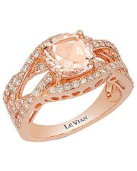 Le Vian 14k Rose Gold 1.70 Ct. Tw. Diamond & Peach Morganite Ring - Metallic
