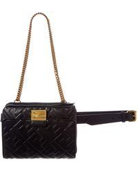 Fendi Upside Down Leather Belt Bag - Black