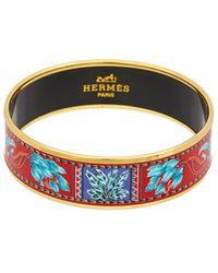 Hermès Gold-plated Printed Enamel Wide Bangle - Multicolour
