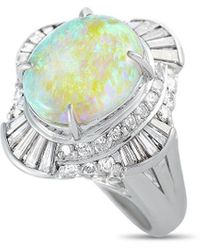 Heritage Platinum 4.51 Ct. Tw. Diamond & Opal Ring - Metallic