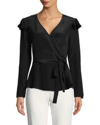 Nicole Miller - Enzyme Washed Silk Wrap Top - Lyst