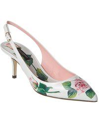Dolce & Gabbana Floral Printed Slingback Pumps - White