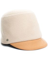 Hermès Beige Wool & Brown Leather Newsboy Hat, Size 58 - Natural