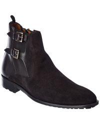 Mezlan Suede & Leather Boot - Black