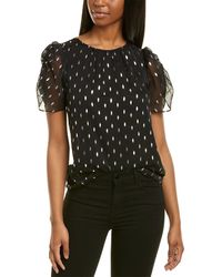 1.STATE Foil Puff Sleeve Top - Black