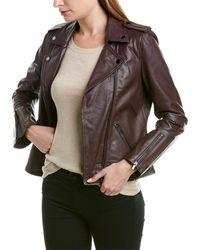 Badgley Mischka Leather Biker Jacket - Purple