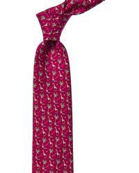 Ferragamo Purple Giraffes Silk Tie - Blue