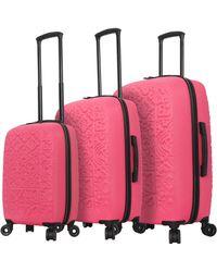 Mia Toro Italy Molded Art Mozaic Hardside Spinner - Pink
