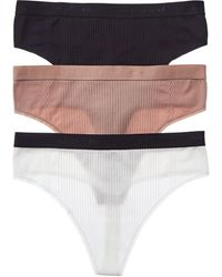 Yummie Set Of 3 Eden Ribbed Thong - Multicolour