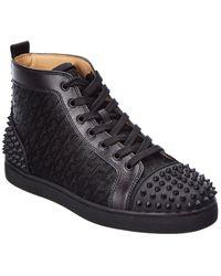 Christian Louboutin Lou Spikes 2 Leather Sneaker - Black