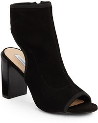 Diane von Furstenberg Panina Suede Peep Toe Booties - Black