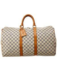Louis Vuitton Damier Azur Canvas Keepall 50 - Brown