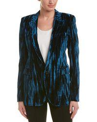 Saint Laurent Crinkled Velvet One-button Blazer - Blue