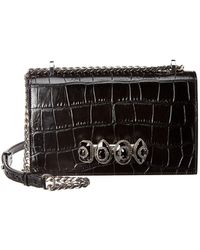 Alexander McQueen Jewelled Croc-embossed Leather Shoulder Bag - Black