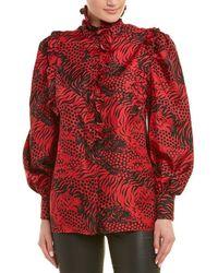 Gucci Tiger Print Silk Blouse - Red