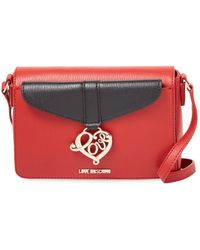 Love Moschino - Solid Leather Shoulder Bag - Lyst