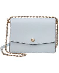Tory Burch Robinson Convertible Leather Shoulder Bag - Blue