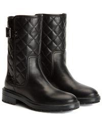 Aquatalia Layla Waterproof Metallic Leather Boot - Black