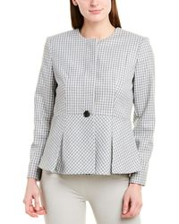 Donna Karan New York Seasonless Stretch Suiting Windowpane Plaid Peplum Jacket - Black