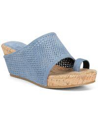 Donald J Pliner Gent Suede Wedge Sandal - Blue
