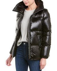 Cole Haan A-line Quilted Coat - Black