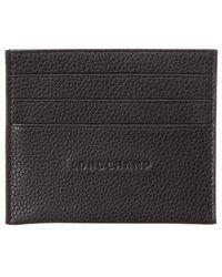 Longchamp Le Foulonne Leather Card Holder - Black