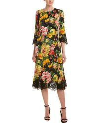 Dolce & Gabbana Floral Lace Silk-blend Midi Dress - Yellow