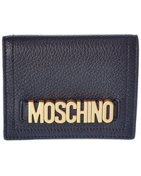 Moschino Logo Leather Compact Wallet - Blue