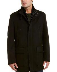 Cole Haan Modern Leather-trim Wool-blend Twill Jacket - Black
