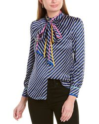 Tory Burch Bias Stripe Contrast Binding Silk Bow Blouse - Blue