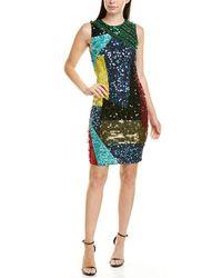 Alice + Olivia Sequin Sheath Dress - Blue