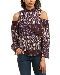 Parker Cold-shoulder Blouse - Purple