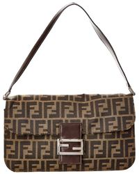 Fendi - Brown Zucca Canvas Baguette Bag - Lyst