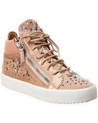 Giuseppe Zanotti Velvet & Leather High-top Trainer - Pink