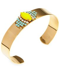 Sandy Hyun Yellow & Blue Beaded Cuff Bracelet - Multicolour