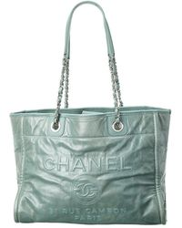 Chanel Green Calfskin Leather Large Deauville Tote