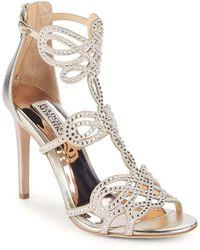 Badgley Mischka - Teri Embellished Leather Stiletto Sandals - Lyst