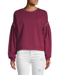 Rebecca Minkoff Ellison Embellished Balloon Sleeve Sweatshirt - Purple