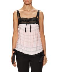 Chanel Vintage Lace Inset Tiered Top - Pink