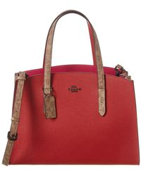 COACH Charlie Signature Coated Canvas & Leather Carryall - Red