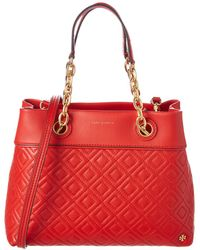 Tory Burch Fleming Small Leather Tote - Red
