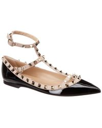 Valentino - Rockstud Leather Ballet Flats - Lyst
