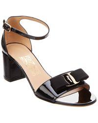 Ferragamo Gavina Vara Patent Sandal - Black