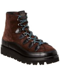 Valentino Leather & Suede Combat Boot - Brown