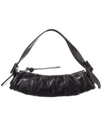 BY FAR Kubi Cylindrical Leather Pouch - Black
