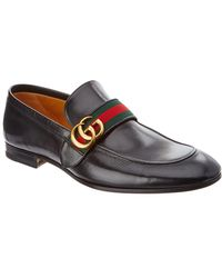 Gucci Leather Loafer With GG Web - Brown