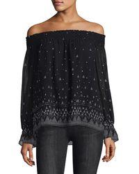 Joie Lilo Silk Off-the-shoulder Blouse - Black